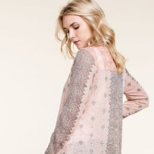 Peach Sublimation Cardigan with Lace